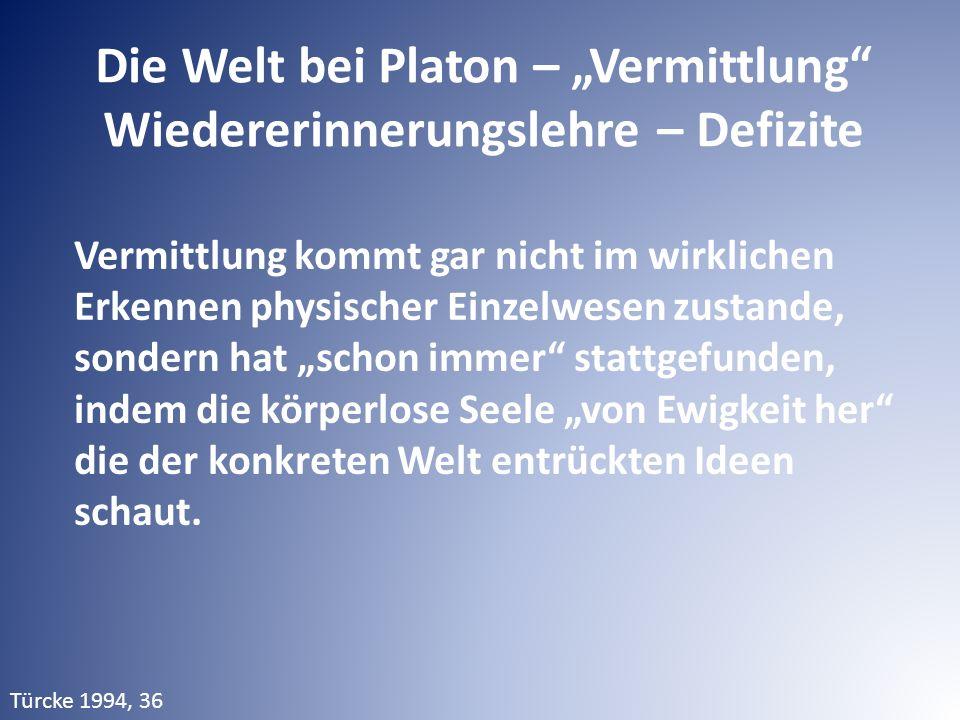"""Die Welt bei Platon – """"Vermittlung"""" Wiedererinnerungslehre – Defizite Vermittlung kommt gar nicht im wirklichen Erkennen physischer Einzelwesen zustan"""