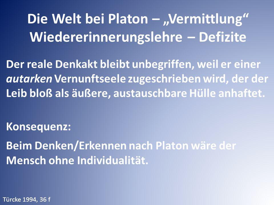 """Die Welt bei Platon – """"Vermittlung Wiedererinnerungslehre – Defizite Der reale Denkakt bleibt unbegriffen, weil er einer autarken Vernunftseele zugeschrieben wird, der der Leib bloß als äußere, austauschbare Hülle anhaftet."""