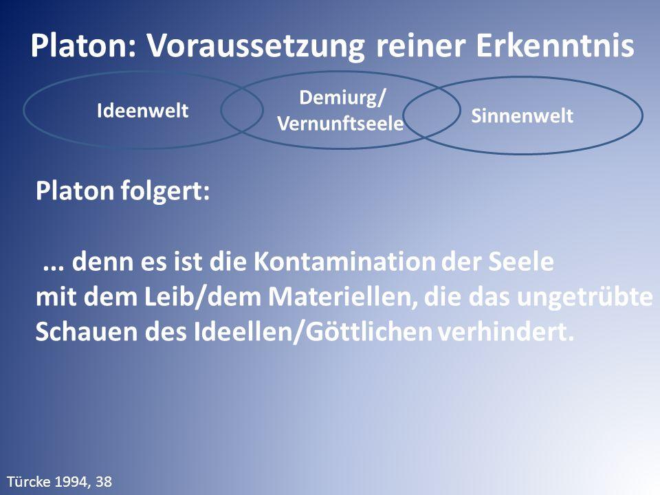 Ideenwelt Demiurg/ Vernunftseele Sinnenwelt Platon: Voraussetzung reiner Erkenntnis Platon folgert:...