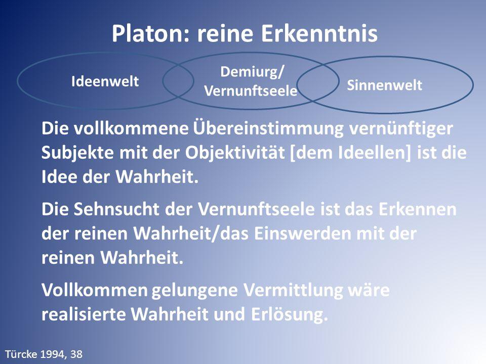 Ideenwelt Demiurg/ Vernunftseele Sinnenwelt Platon: reine Erkenntnis Die vollkommene Übereinstimmung vernünftiger Subjekte mit der Objektivität [dem I