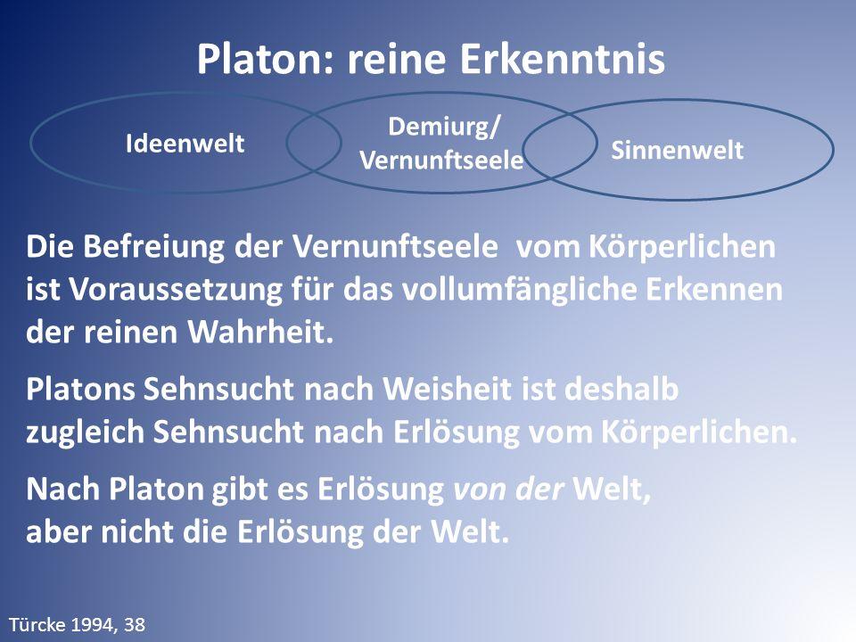 Ideenwelt Demiurg/ Vernunftseele Sinnenwelt Platon: reine Erkenntnis Die Befreiung der Vernunftseele vom Körperlichen ist Voraussetzung für das vollum