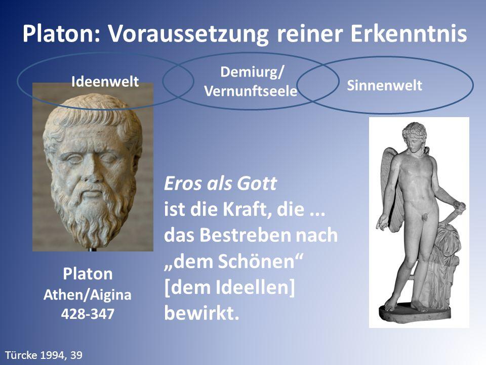 """Ideenwelt Demiurg/ Vernunftseele Sinnenwelt Platon: Voraussetzung reiner Erkenntnis Eros als Gott ist die Kraft, die... das Bestreben nach """"dem Schöne"""