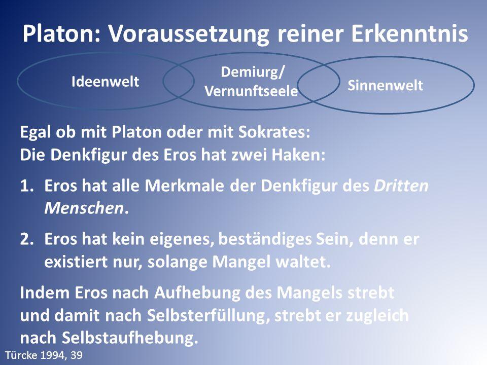 Ideenwelt Demiurg/ Vernunftseele Sinnenwelt Platon: Voraussetzung reiner Erkenntnis Egal ob mit Platon oder mit Sokrates: Die Denkfigur des Eros hat zwei Haken: 1.Eros hat alle Merkmale der Denkfigur des Dritten Menschen.