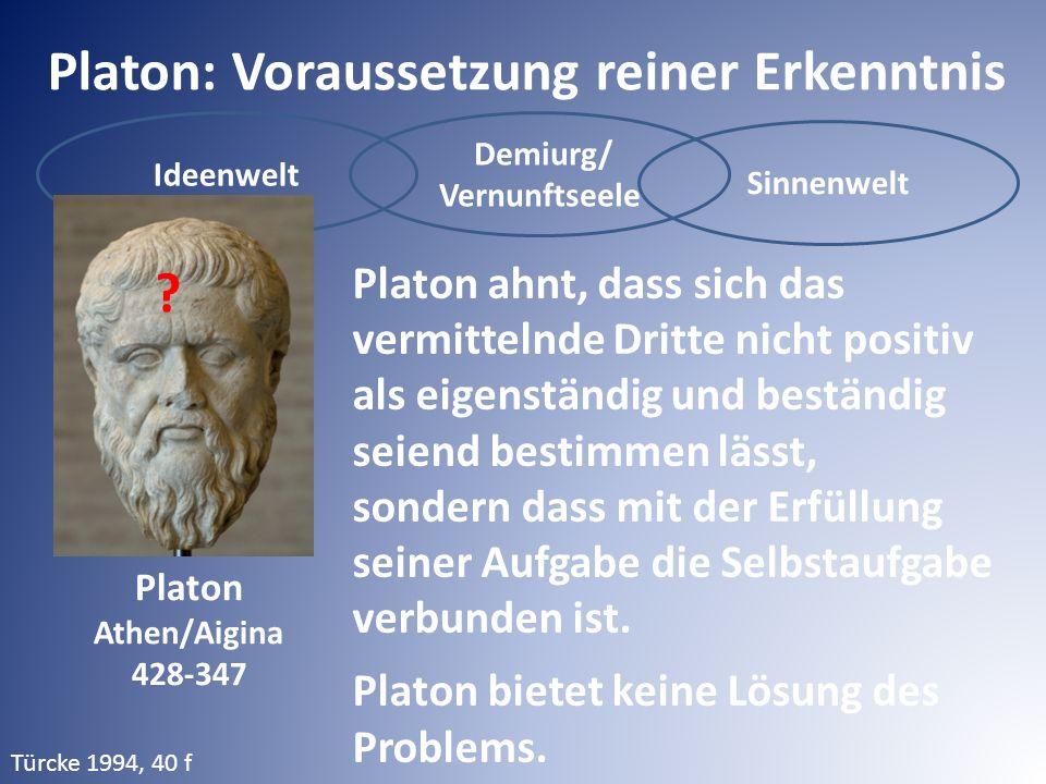 Ideenwelt Demiurg/ Vernunftseele Sinnenwelt Platon: Voraussetzung reiner Erkenntnis Platon ahnt, dass sich das vermittelnde Dritte nicht positiv als eigenständig und beständig seiend bestimmen lässt, sondern dass mit der Erfüllung seiner Aufgabe die Selbstaufgabe verbunden ist.