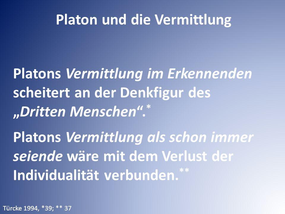 """Platons Vermittlung im Erkennenden scheitert an der Denkfigur des """"Dritten Menschen"""". * Platons Vermittlung als schon immer seiende wäre mit dem Verlu"""