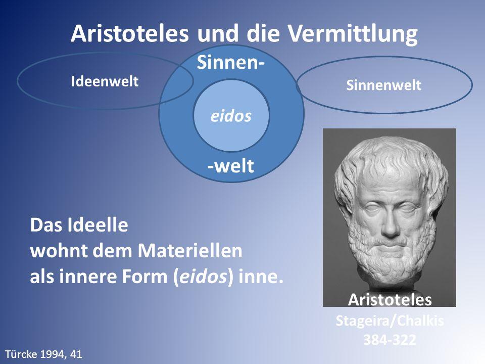 Sinnen- -welt Aristoteles und die Vermittlung Das Ideelle wohnt dem Materiellen als innere Form (eidos) inne. eidos Ideenwelt Sinnenwelt Aristoteles S