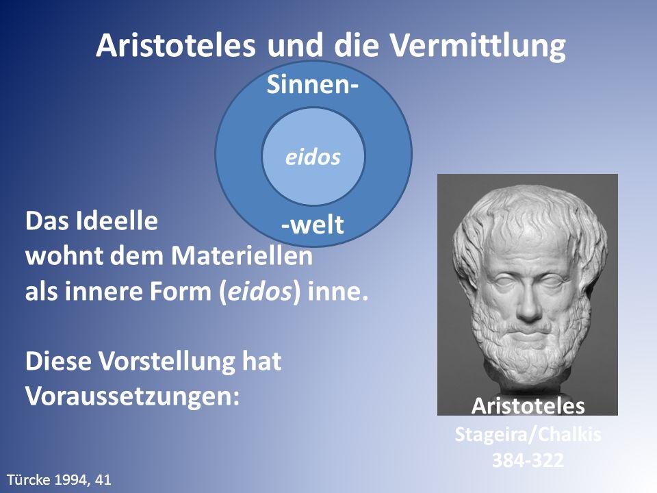 Sinnen- -welt Aristoteles und die Vermittlung Das Ideelle wohnt dem Materiellen als innere Form (eidos) inne. Diese Vorstellung hat Voraussetzungen: e