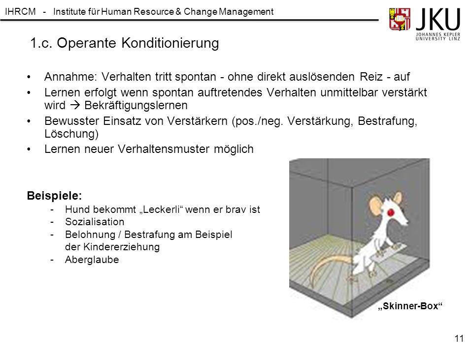 IHRCM - Institute für Human Resource & Change Management 1.c. Operante Konditionierung Annahme: Verhalten tritt spontan - ohne direkt auslösenden Reiz
