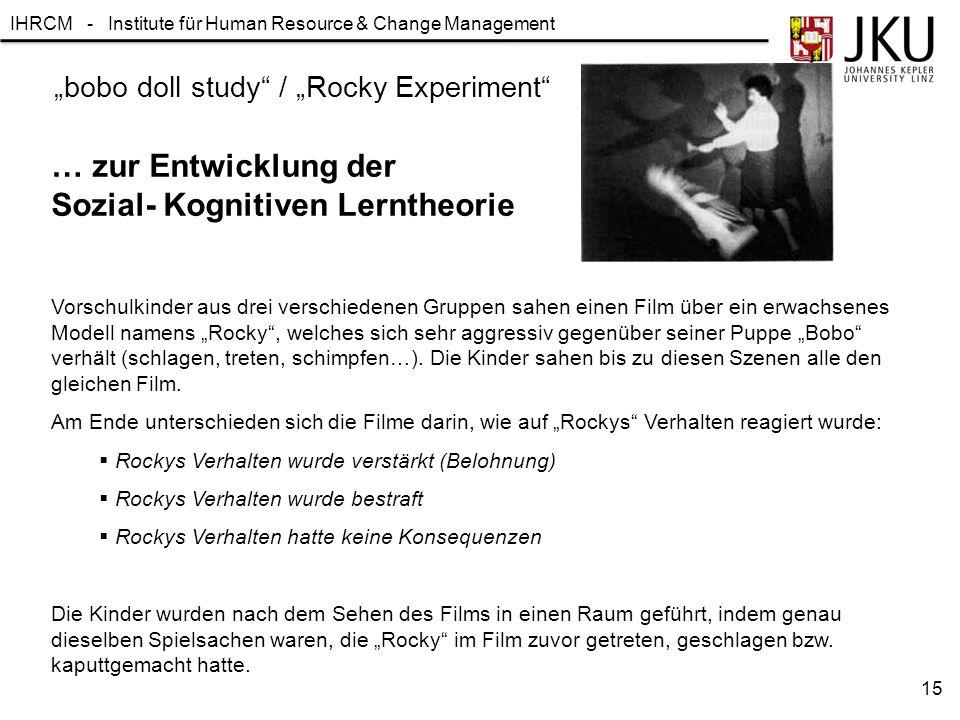 """IHRCM - Institute für Human Resource & Change Management """"bobo doll study"""" / """"Rocky Experiment"""" … zur Entwicklung der Sozial- Kognitiven Lerntheorie V"""