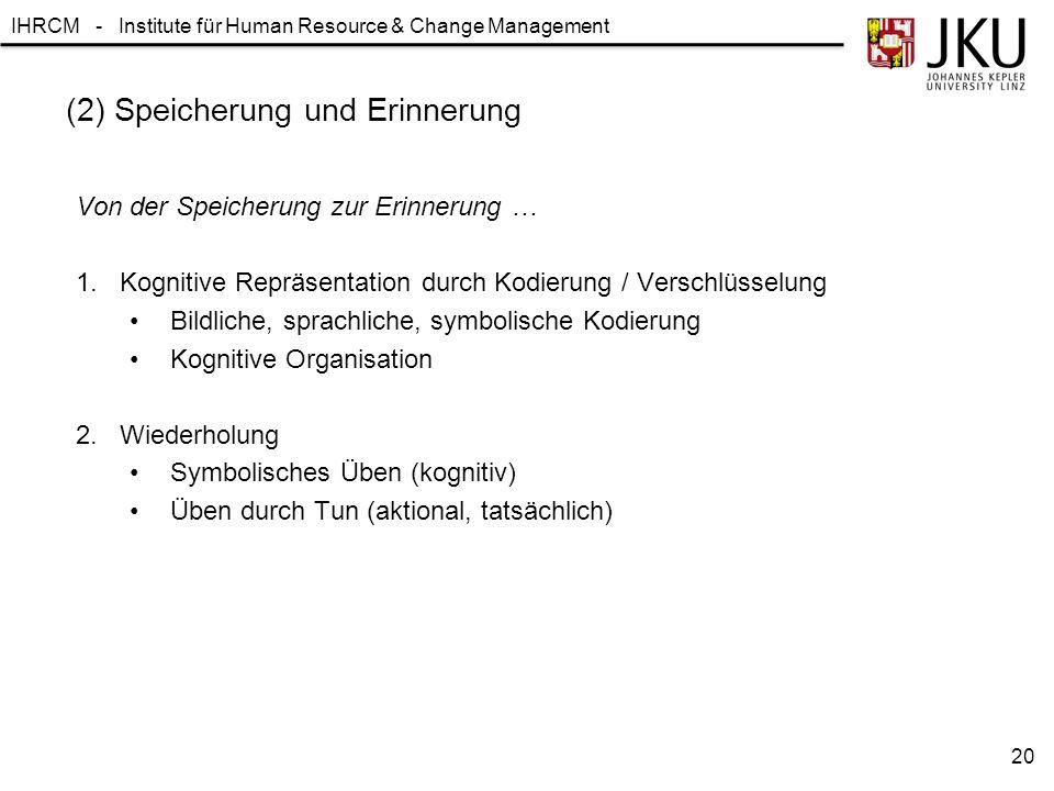 IHRCM - Institute für Human Resource & Change Management (2) Speicherung und Erinnerung Von der Speicherung zur Erinnerung … 1.Kognitive Repräsentatio