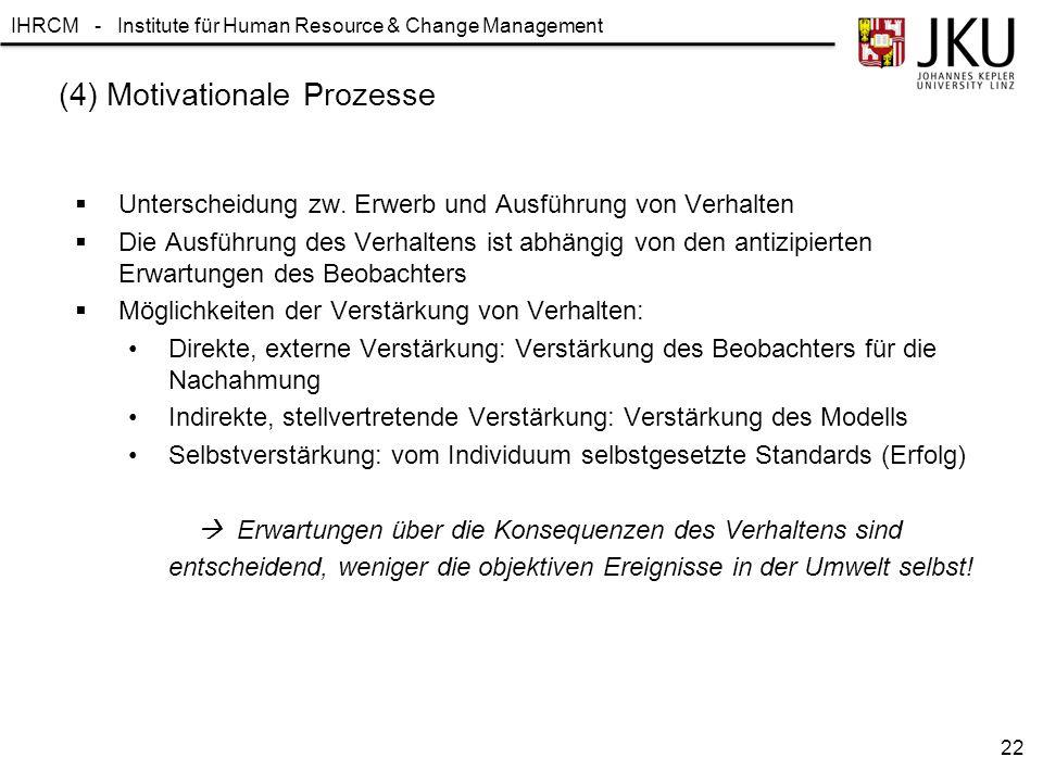 IHRCM - Institute für Human Resource & Change Management (4) Motivationale Prozesse  Unterscheidung zw. Erwerb und Ausführung von Verhalten  Die Aus