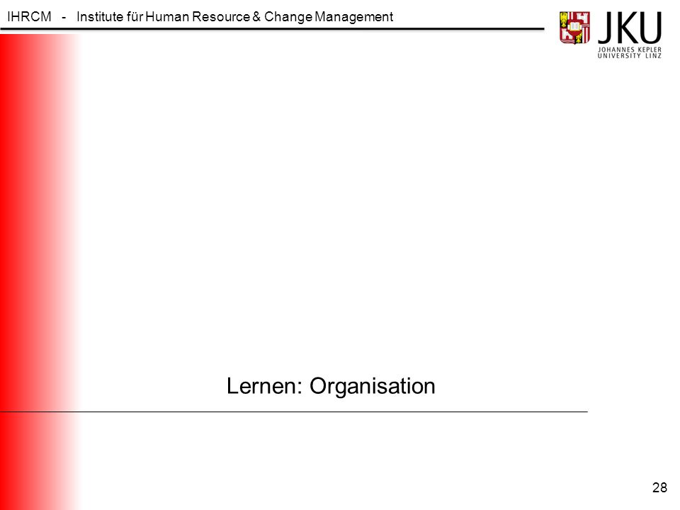 IHRCM - Institute für Human Resource & Change Management Lernen: Organisation 28