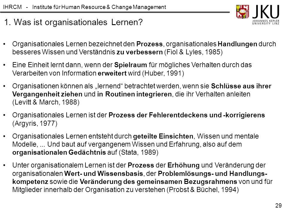 IHRCM - Institute für Human Resource & Change Management 1. Was ist organisationales Lernen? Organisationales Lernen bezeichnet den Prozess, organisat