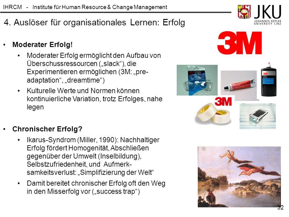 IHRCM - Institute für Human Resource & Change Management 4. Auslöser für organisationales Lernen: Erfolg Moderater Erfolg! Moderater Erfolg ermöglicht