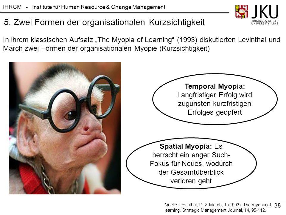 """IHRCM - Institute für Human Resource & Change Management 5. Zwei Formen der organisationalen Kurzsichtigkeit In ihrem klassischen Aufsatz """"The Myopia"""