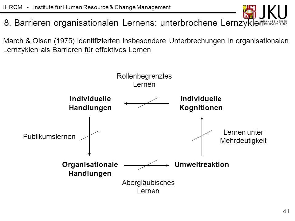 IHRCM - Institute für Human Resource & Change Management 8. Barrieren organisationalen Lernens: unterbrochene Lernzyklen Individuelle Handlungen Indiv