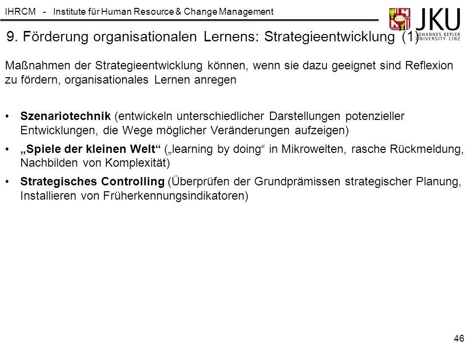 IHRCM - Institute für Human Resource & Change Management 9. Förderung organisationalen Lernens: Strategieentwicklung (1) Szenariotechnik (entwickeln u