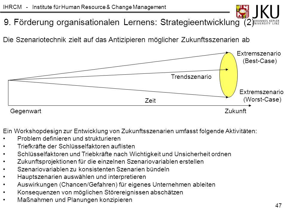 IHRCM - Institute für Human Resource & Change Management 9. Förderung organisationalen Lernens: Strategieentwicklung (2) Die Szenariotechnik zielt auf