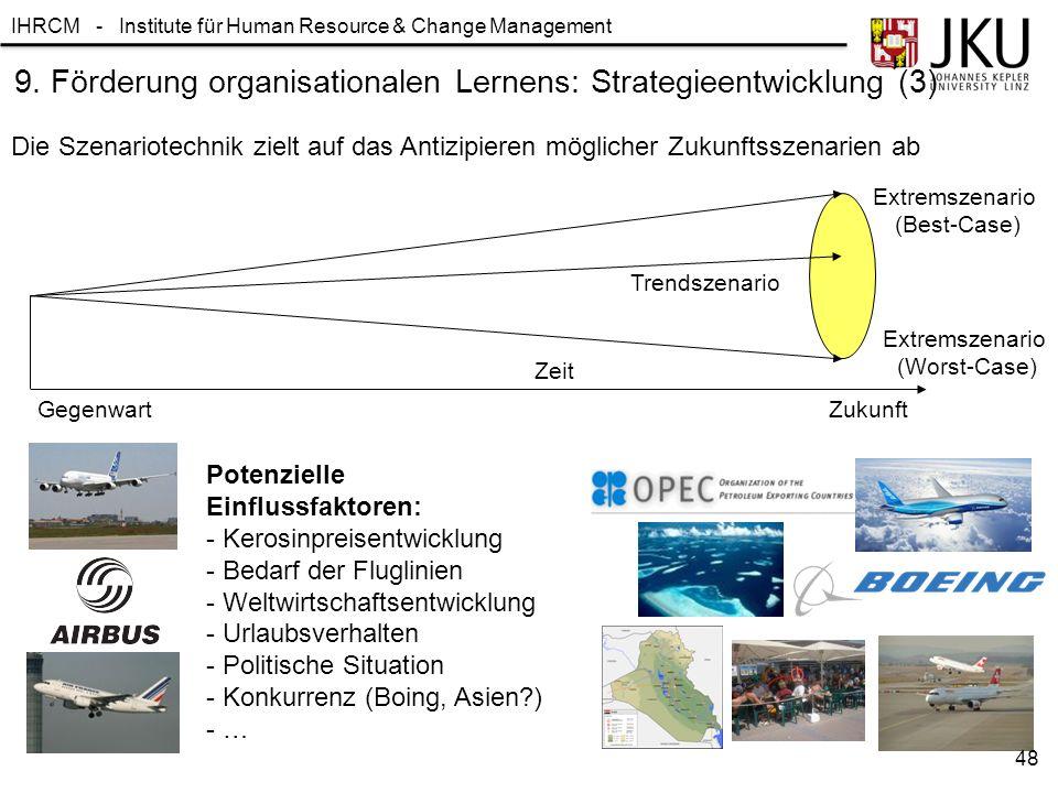 IHRCM - Institute für Human Resource & Change Management 9. Förderung organisationalen Lernens: Strategieentwicklung (3) Die Szenariotechnik zielt auf