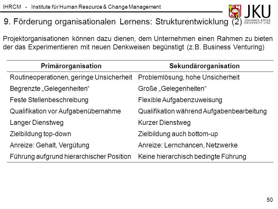 IHRCM - Institute für Human Resource & Change Management 9. Förderung organisationalen Lernens: Strukturentwicklung (2) Projektorganisationen können d