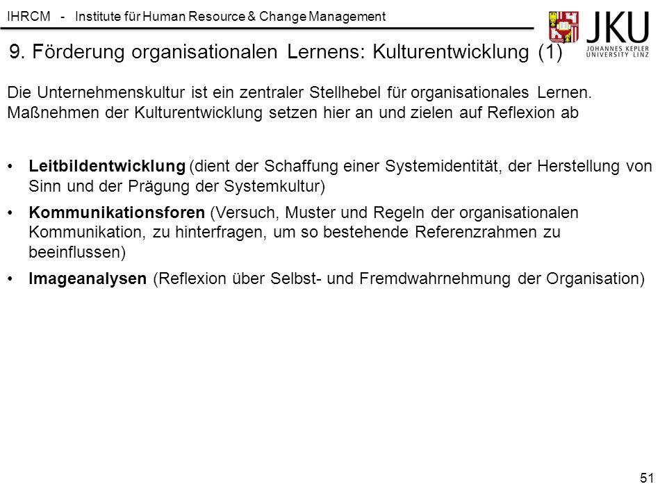 IHRCM - Institute für Human Resource & Change Management 9. Förderung organisationalen Lernens: Kulturentwicklung (1) Leitbildentwicklung (dient der S