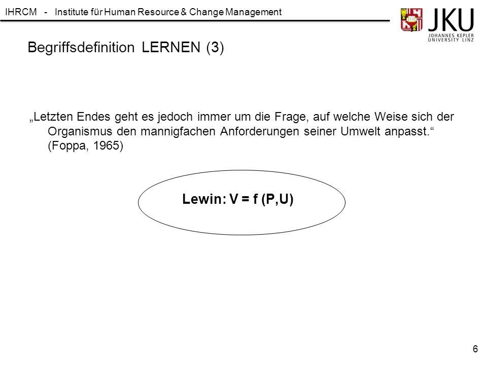 IHRCM - Institute für Human Resource & Change Management Lernparadigmen / Lerntheoretische Schulen 1.Behaviorismus 2.Kognitivismus 3.Modell-Lernen 4.Konstruktivismus 7