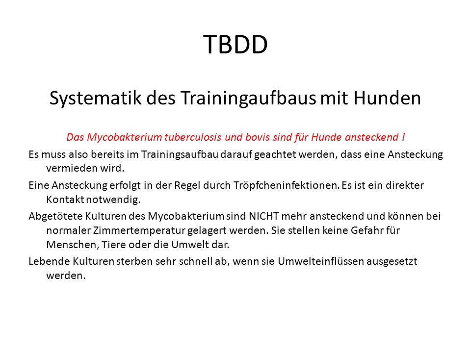 TBDD 2.Umfeldkontrolle (Human-Medizin) Zur Verhinderung von Ansteckungen kann mit einem TB-Spürhund die Umgebung eines Erkrankten nach dem Mycobacterium Tuberculosis abgesucht werden.
