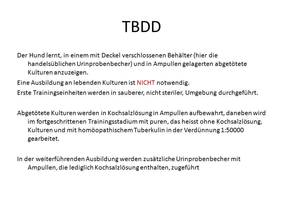 """TBDD Für den realen Spürhundeinsatz werden von """"verdächtigen infizierten Personen oder Tieren Speichelproben entnommen, in der Mikrowelle ca."""