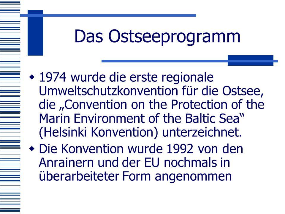 """Das Ostseeprogramm  1974 wurde die erste regionale Umweltschutzkonvention für die Ostsee, die """"Convention on the Protection of the Marin Environment of the Baltic Sea (Helsinki Konvention) unterzeichnet."""