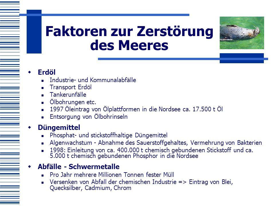 Umweltprobleme Ostsee  Eutrophierung- verursacht durch das Fehlen geeigneter Kläranlagen sowie durch den Düngemitteleintrag aus der Landwirtschaft  Zusätzliche Schadstoffeintragung aus der Luft, ~ 40% des gesamten Stickstoffeintrages kommt aus der Luft.
