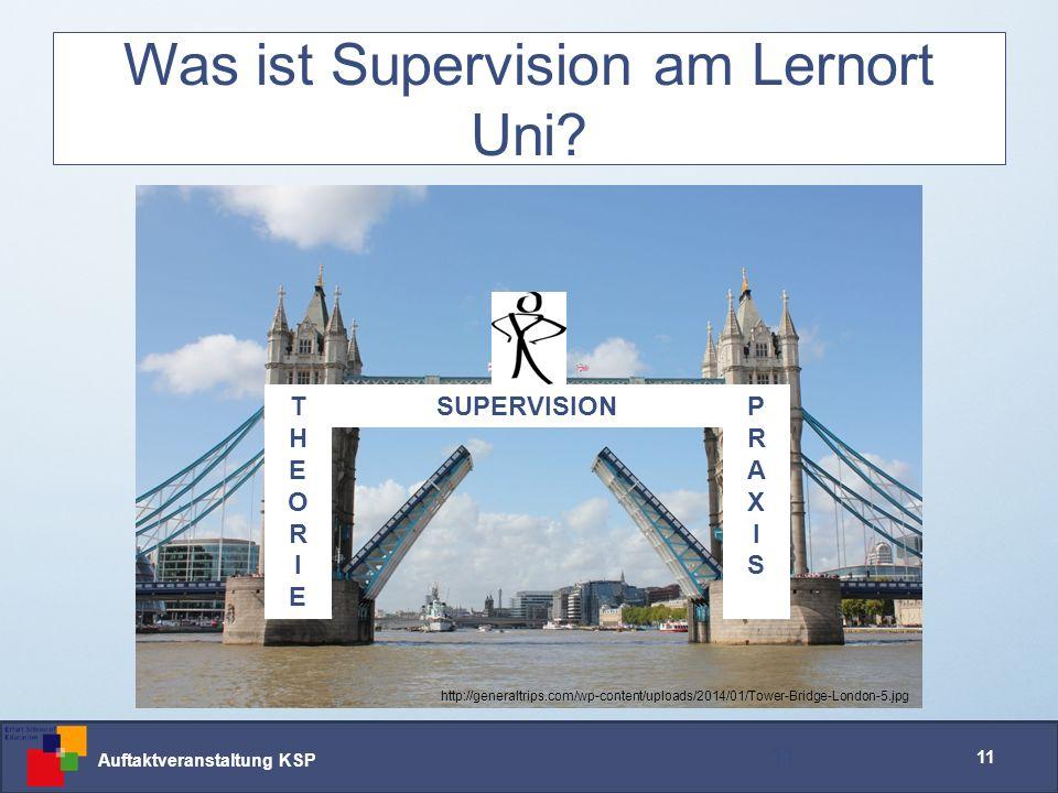 Auftaktveranstaltung KSP 11 Was ist Supervision am Lernort Uni.