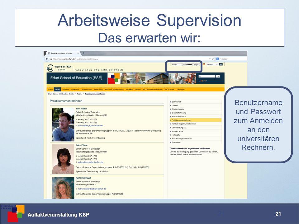 Auftaktveranstaltung KSP 21 Arbeitsweise Supervision Das erwarten wir: 21 Benutzername und Passwort zum Anmelden an den universitären Rechnern.