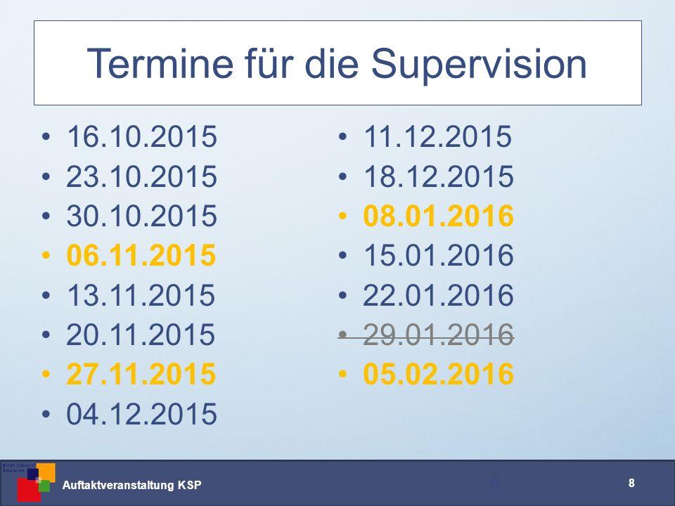 Auftaktveranstaltung KSP 19 Arbeitsweise Supervision Das erwarten wir: 19 www.uni-erfurt.de/ese/team