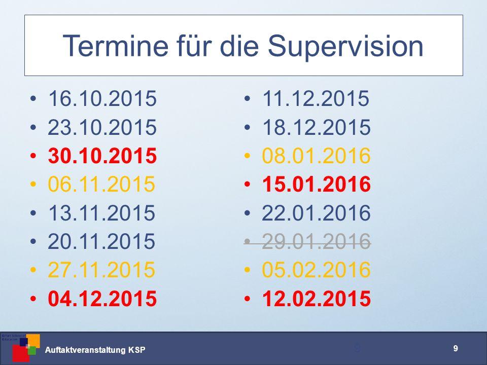Auftaktveranstaltung KSP 20 Arbeitsweise Supervision Das erwarten wir: 20 Praktikumsmentor/innen