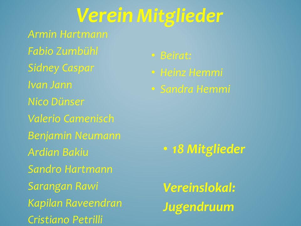 Verein Mitglieder 18 Mitglieder Vereinslokal: Jugendruum Armin Hartmann Fabio Zumbühl Sidney Caspar Ivan Jann Nico Dünser Valerio Camenisch Benjamin N