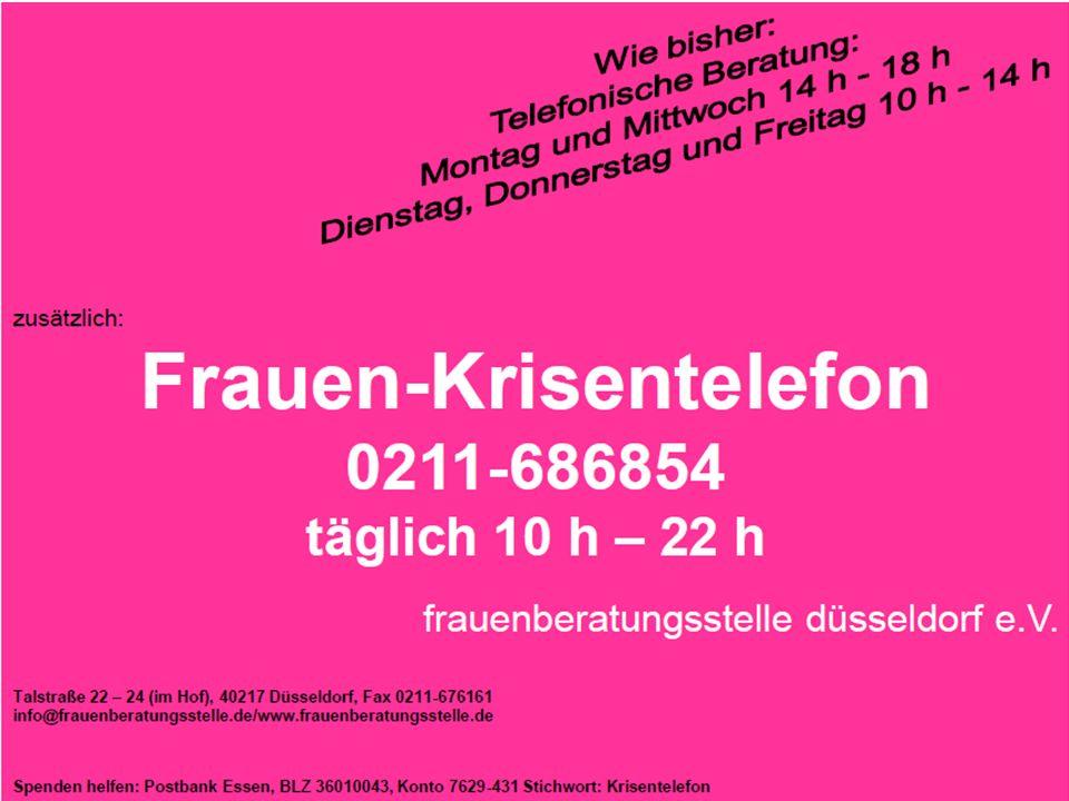 Drei Arbeitsansätze: - Einzelfallhilfe - Gruppenangebote - Vernetzung- und Öffentlichkeitsarbeit frauenberatungsstelle düsseldorf e.V., Talstraße 22-24, 40217 Düsseldorf, 0211 - 68 68 54, www.frauenberatungsstelle.de
