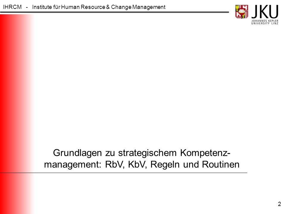 IHRCM - Institute für Human Resource & Change Management 3 Beabsichtigte Strategie: A priori Richtlinien zur Lösung zukünftiger Entscheidungsprobleme Realisierte Strategie: Tatsächlich ergriffene Maßnahmenbündel Während Strukturen und Qualifikationen noch (eher) messbar und direktiv beeinflussbar sind, tragen Aspekte wie Unternehmenskultur und Mikropolitik dazu bei, dass Strategien kontinuierlich weiterentwickelt werden 1.
