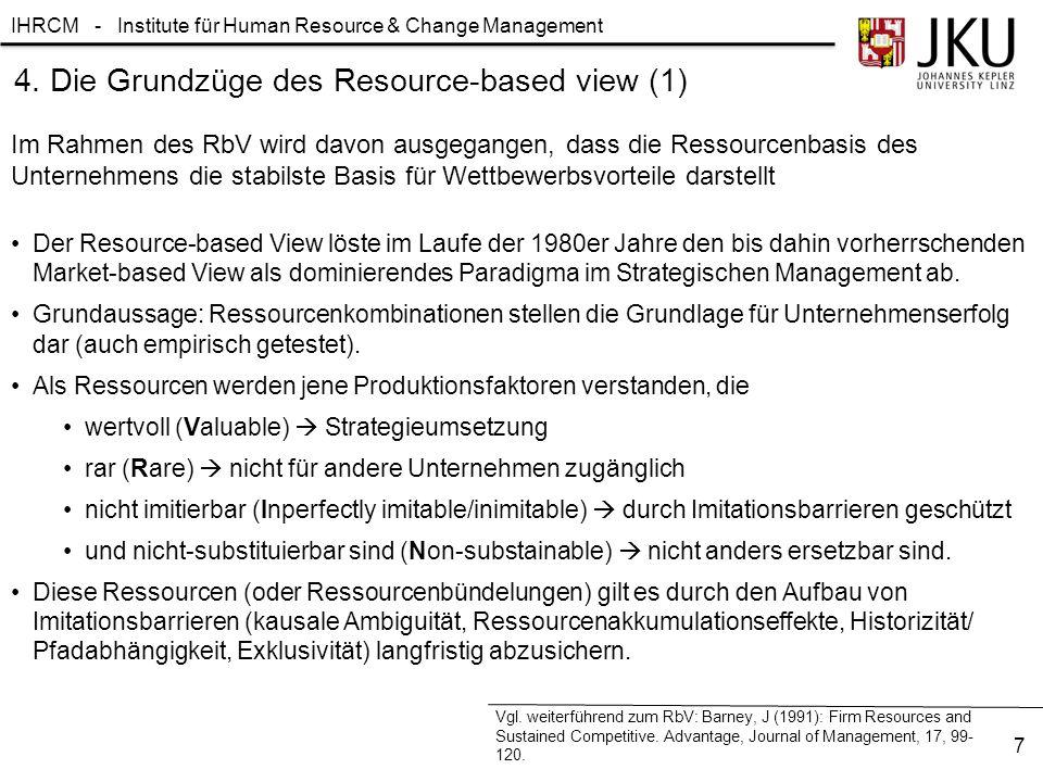 IHRCM - Institute für Human Resource & Change Management 8 Peteraf (1993) identifizierte vier Grundpfeiler des Wettbewerbserfolges aus ressourcenorientierter Perspektive Vgl.