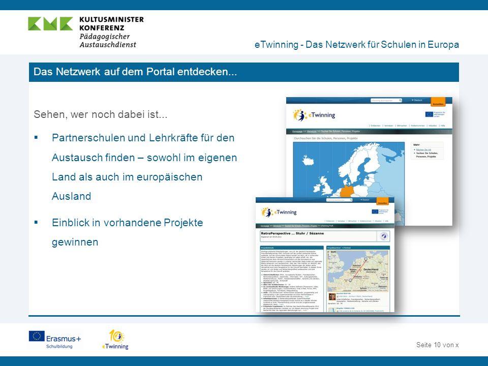Seite 10 von x Das Netzwerk auf dem Portal entdecken...