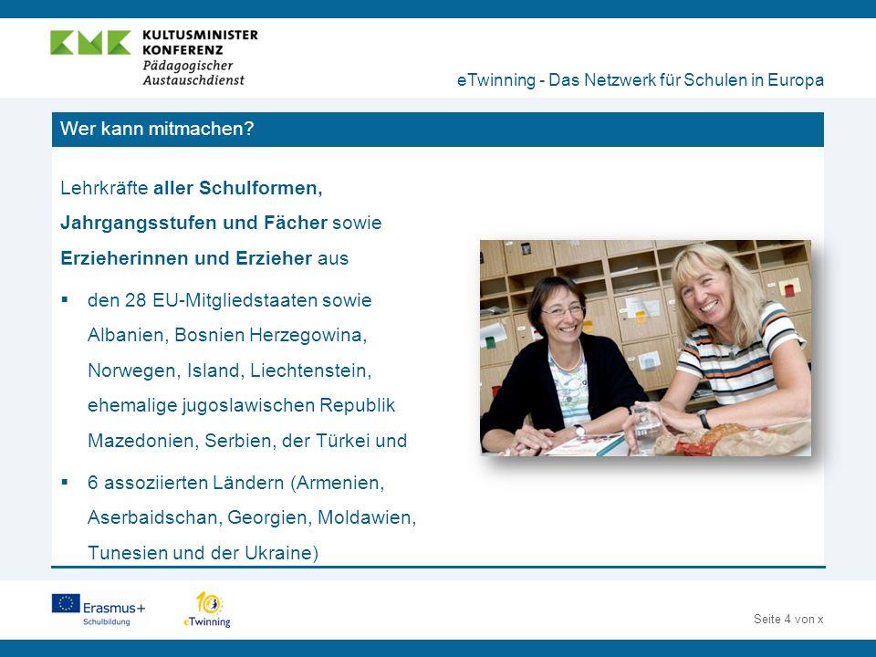 Seite 5 von x Pädagogischer Nutzen von eTwinning eTwinning - Das Netzwerk für Schulen in Europa  Austausch unter Lehrkräften in Europa  Innovative Methoden der Zusammenarbeit  Interkultureller Dialog  Sinnvoller und kreativer Medieneinsatz  Fortbildung von Lehrkräften  Nachhaltiges Instrument zur Kommunikation im Rahmen einer Schulpartnerschaft