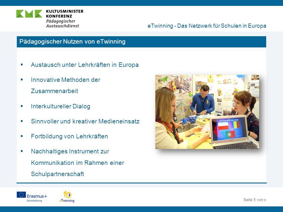 Seite 16 von x Die Werkzeuge des TwinSpace eTwinning - Das Netzwerk für Schulen in Europa  Kommunikation via E-Mail, Chat und Forum  Organisation via Pinnwand Dokumentenarchiv  Zusammenarbeit via Blog und Webseiten  Veröffentlichung multimedialer Inhalte (wie z.