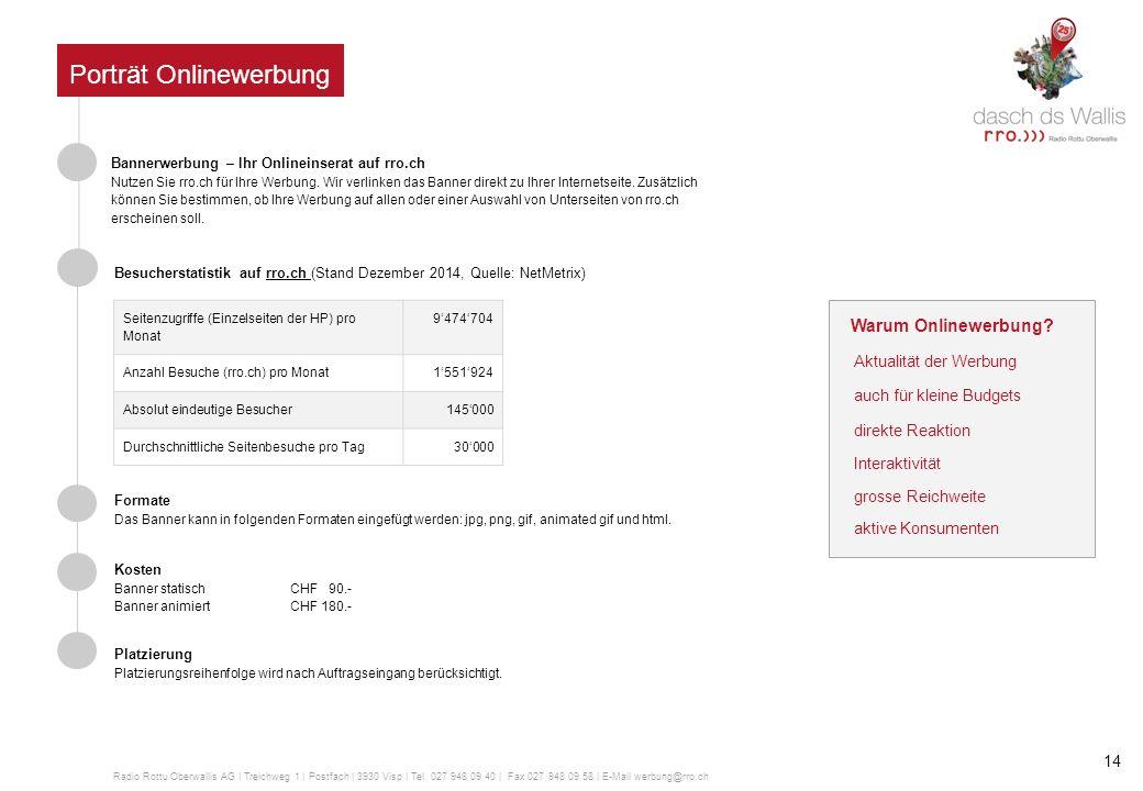 Porträt rrotv Sendegebiet Oberwallis Zuschauerzahlen Internet Live On Demand Service Über das Kabelnetz von Valaiscom empfangbar in: Zermatt, Saas-Fee, Brig- Glis, Naters, Visp und Leukerbad Rund 25'000 Haushalte können rrotv via Kabel empfangen.
