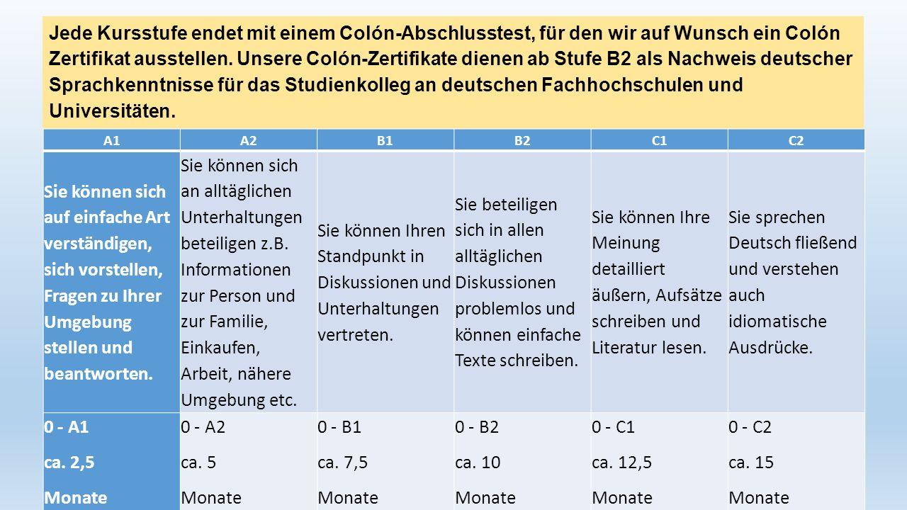 Jede Kursstufe endet mit einem Colón-Abschlusstest, für den wir auf Wunsch ein Colón Zertifikat ausstellen. Unsere Colón-Zertifikate dienen ab Stufe B