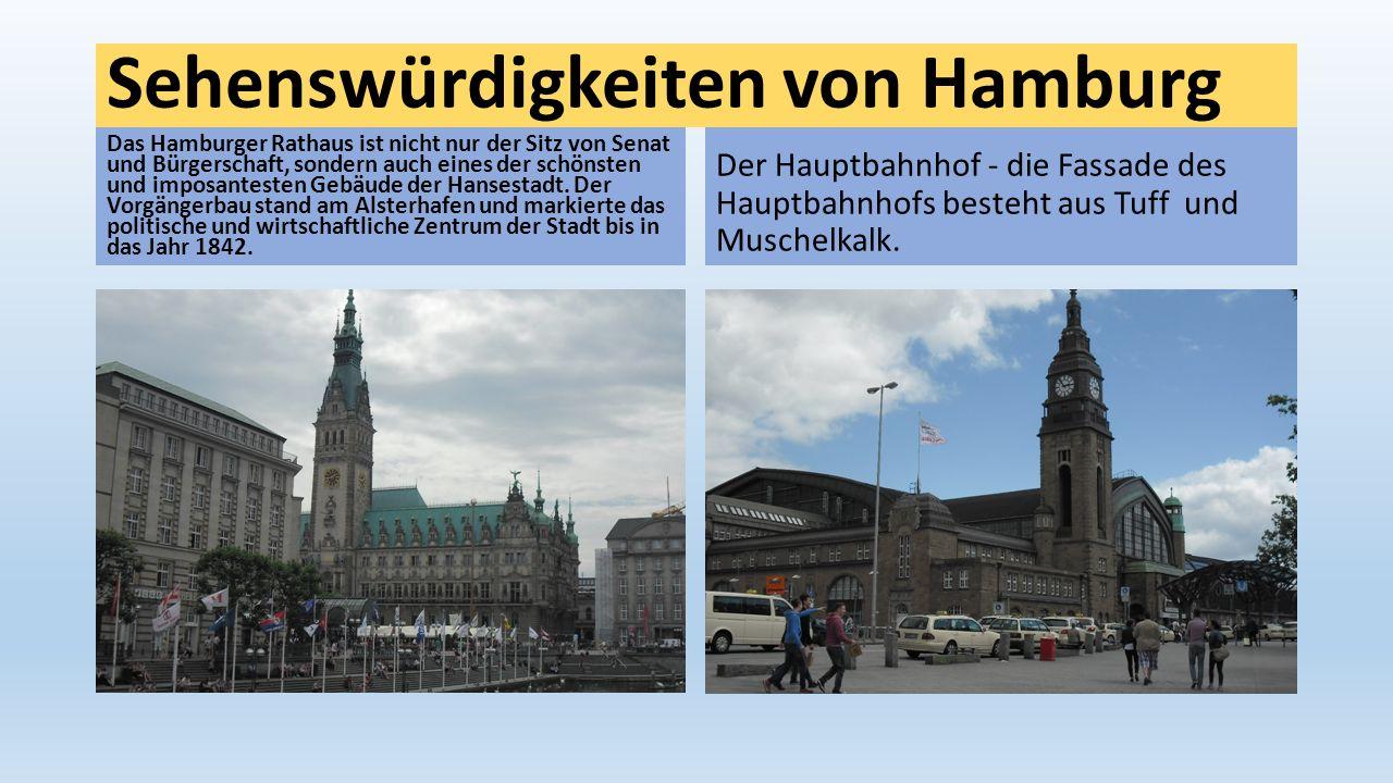 Sehenswürdigkeiten von Hamburg Das Hamburger Rathaus ist nicht nur der Sitz von Senat und Bürgerschaft, sondern auch eines der schönsten und imposante