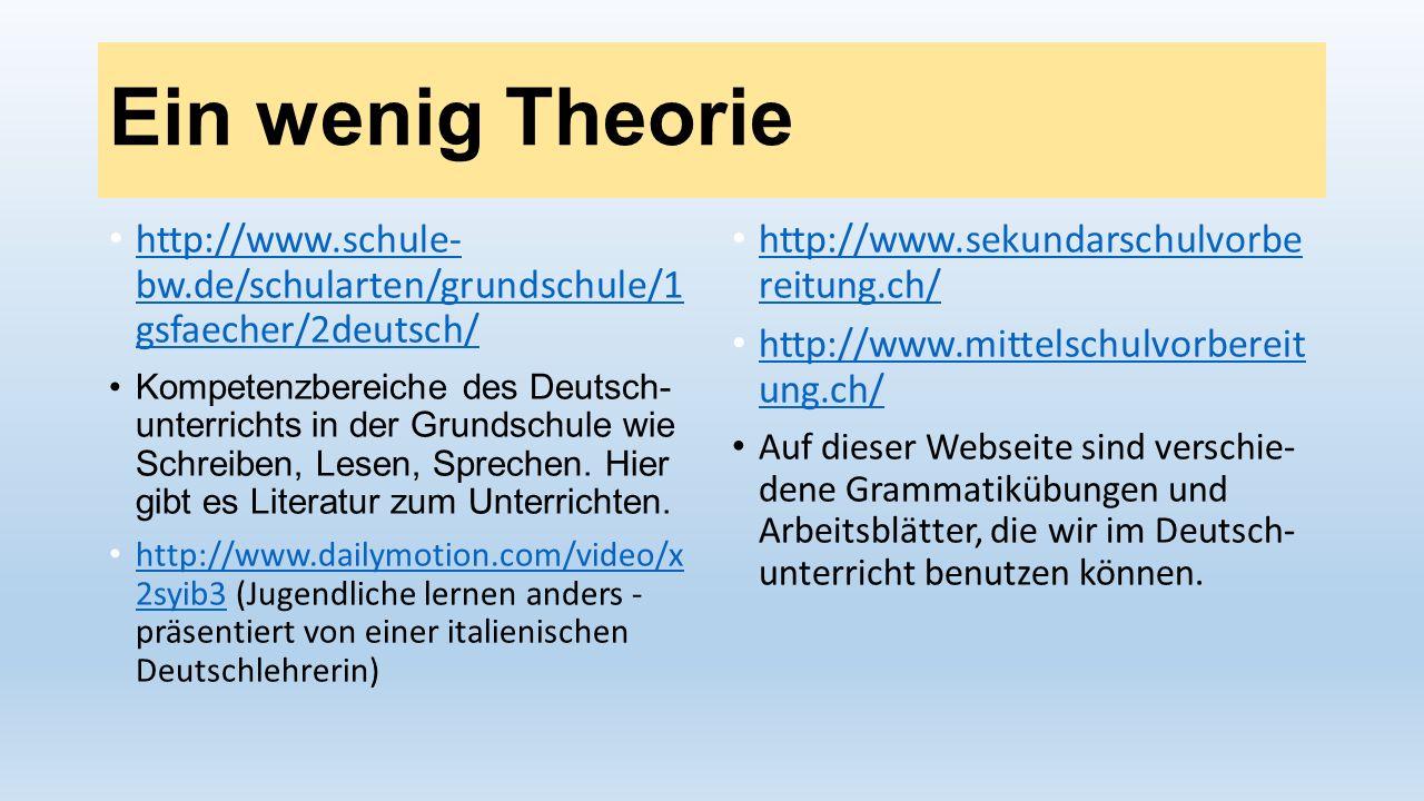 Ein wenig Theorie http://www.schule- bw.de/schularten/grundschule/1 gsfaecher/2deutsch/ http://www.schule- bw.de/schularten/grundschule/1 gsfaecher/2d