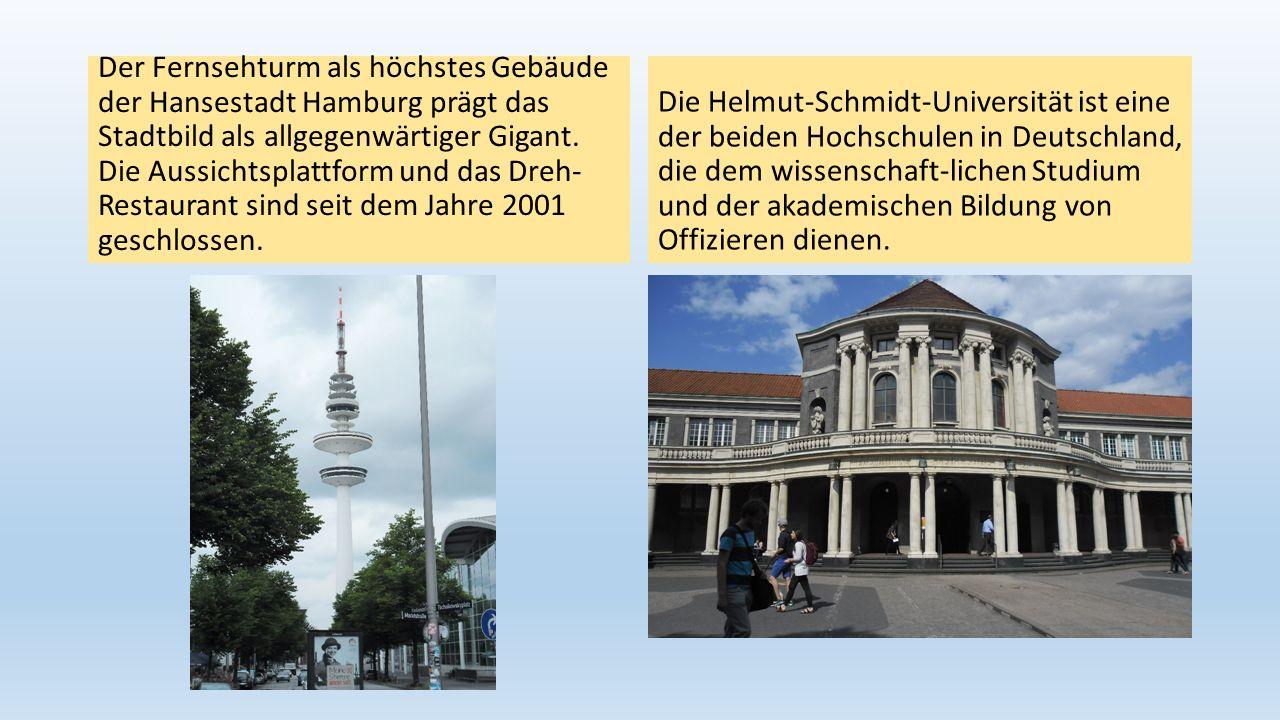 Der Fernsehturm als höchstes Gebäude der Hansestadt Hamburg prägt das Stadtbild als allgegenwärtiger Gigant. Die Aussichtsplattform und das Dreh- Rest