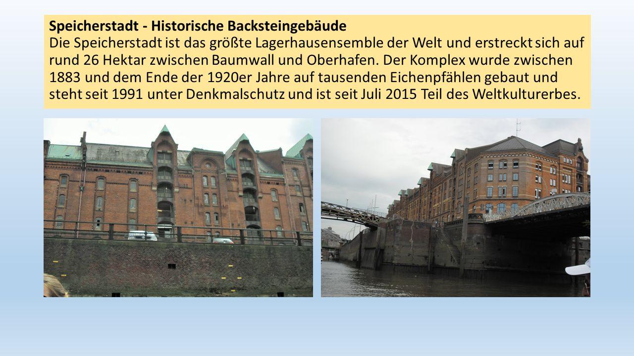Speicherstadt - Historische Backsteingebäude Die Speicherstadt ist das größte Lagerhausensemble der Welt und erstreckt sich auf rund 26 Hektar zwische