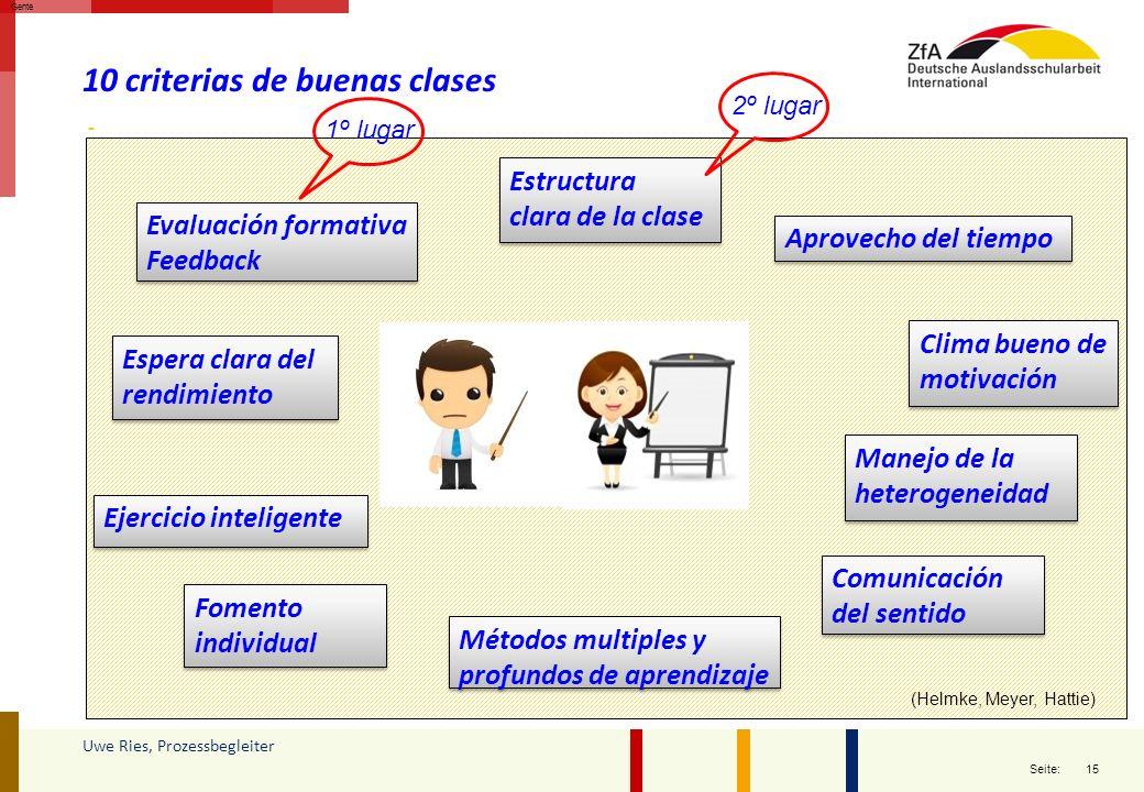 15 Seite: Uwe Ries, Prozessbegleiter Gente 10 criterias de buenas clases Manejo de la heterogeneidad Comunicación del sentido Ejercicio inteligente Es