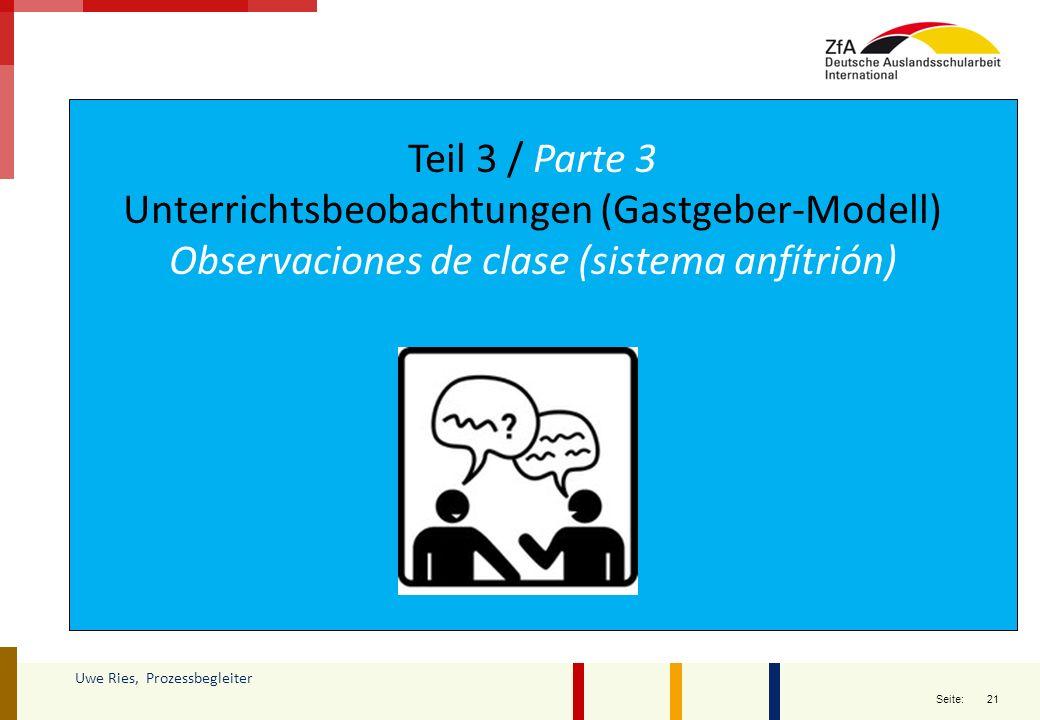 21 Seite: Uwe Ries, Prozessbegleiter Teil 3 / Parte 3 Unterrichtsbeobachtungen (Gastgeber-Modell) Observaciones de clase (sistema anfítrión)