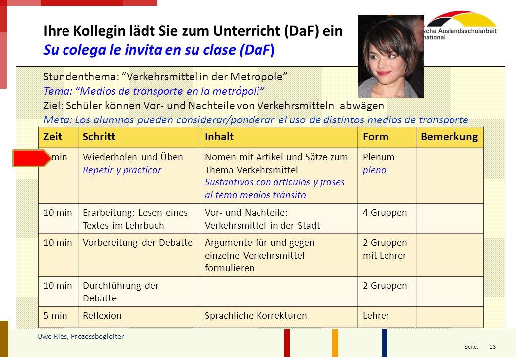 23 Seite: Uwe Ries, Prozessbegleiter Ihre Kollegin lädt Sie zum Unterricht (DaF) ein Su colega le invita en su clase (DaF) ZeitSchrittInhaltFormBemerk